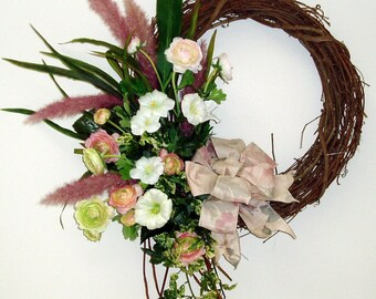 Vinatge Morning Glories in Pink and Mauve Wreath