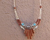 Double Strand Glitter Stone, Turquoise & Silver Beaded Necklace