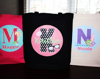 Set of 3 - Large Personalized Tote Bag