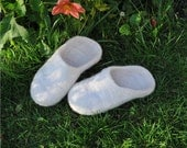Felted  slippers from natural wool, white.