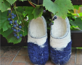 Eco friendly felted slippers from natural wool
