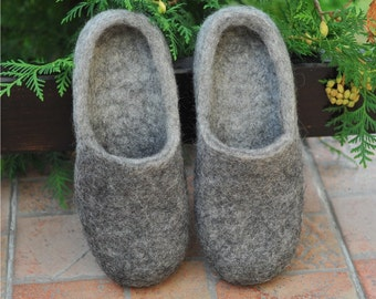Eco friendly grey felted slippers