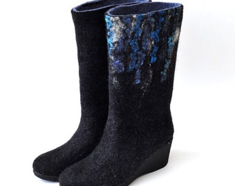 Women felted boots from natural softest merino wool. Made to order.