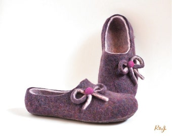 Felted slippers - lilac mix - bows - ribbon
