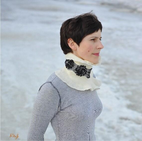 Handmade shawl black and white-  felted from softest merino wool