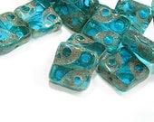 Czech Glass Beads Square 10mm Carved Dot Aqua Picasso 10 Pieces  B640