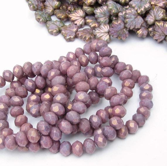 Czech 4x6 Rondelles Glass Beads Plum / Dark Lavender 12 Pieces