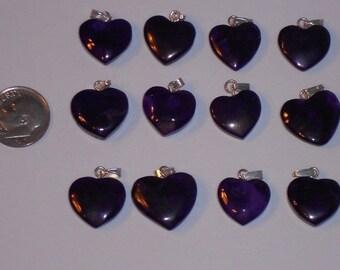 Purple Dye Howlite Pendant Hearts or Valentines