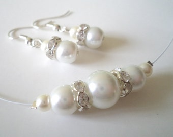 Set of 5 Bridesmaids Gift, White Glass Pearl Necklace and Earrings Sets, Bridesmaid Jewelry Set  Bridal Jewelry