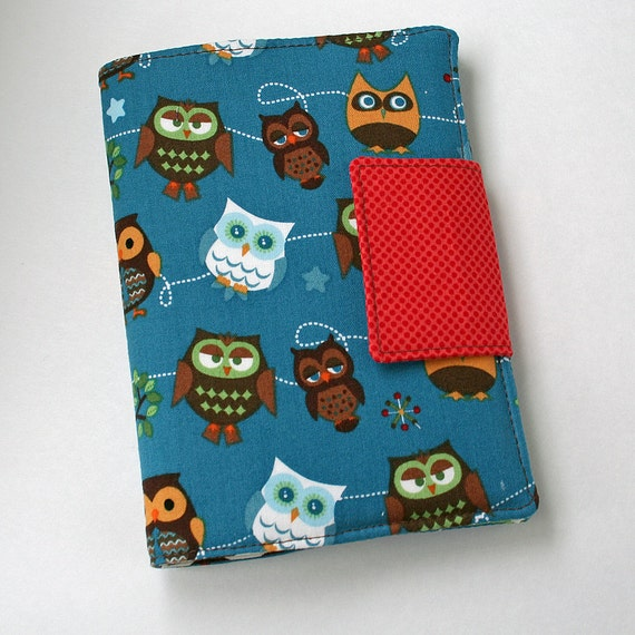 Mini Art Folio - Crayon Wallet with Velcro closure (8 crayons and 4x6 notepad paper included) Riley Blake Hoot Hoot Owls Blue