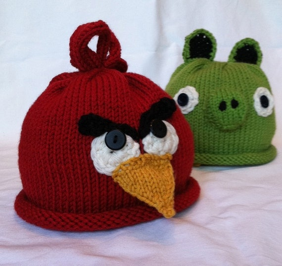 Knitted Childrens Slippers Free Pattern : Angry Birds Knit Baby Hats by obbindobbin on Etsy