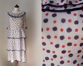 Vintage 1970's Polka Dot Dress with Ruffles Size S