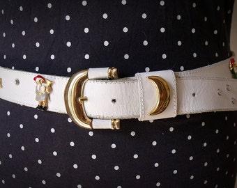 Vintage 1980's White Studded Belt