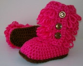 crochet baby  boots ugg inspired boots hot pink  fall winter baby boots baby slippers furry boots 0-6 month 6-12 month