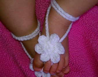 baby crochet barefoot sandals shimmer white photography prop  more colors READY TO SHIP