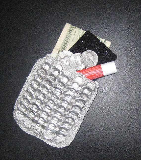 Recycled Soda Can Pop Tabs Pull Tabs Coin Purse Silver