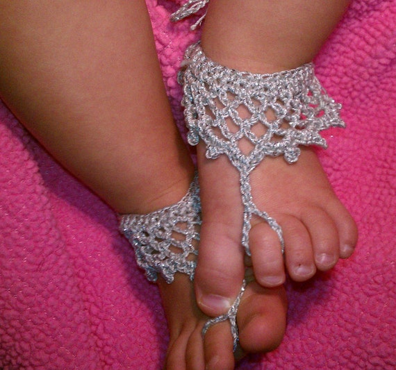 Crochet Pattern For Baby Barefoot Sandals : PDF PATTERN 07 crochet princess baby barefoot sandals Instant