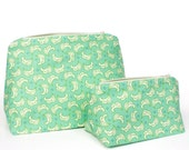 Holiday Gift Set in Seafoam Mint Green Matching Travel Bags - Pastel - Bridesmaid Gift Set, Holiday Gift Set, Birthday Gift Set