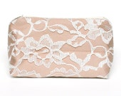 Vintage Lace Beige Cream & Ivory Cosmetic Bag Bridesmaid Gift- Wedding Favor, Bridal Accessory, Vintage Wedding, Lace Accessory