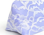 Serenity Pantone Color of the Year Bridesmaid Gift Wedding Periwinkle & Ivory Lace Cosmetic Bag, Bridal Shower Gift, Lilac, Pastel