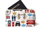 London, England Themed Cosmetic Bag, Cosmetic Case, Makeup Bag - Birthday Gift Idea, Novelty Party Favor, Stocking Stuffer