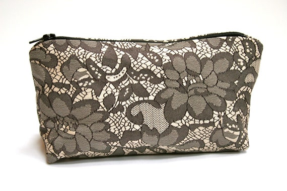 Cosmetic Bag in Black / Gray Lace - Mother's Day Gift, Graduation Gift - Only ONE Available