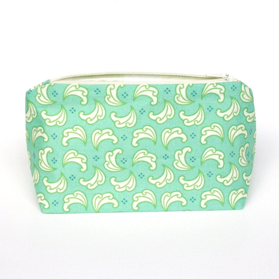Gift in Seafoam Mint Green - Cosmetic Bag, Makeup Bag - Birthday Gift, Party Favor, Valentine's Day Gift for Her