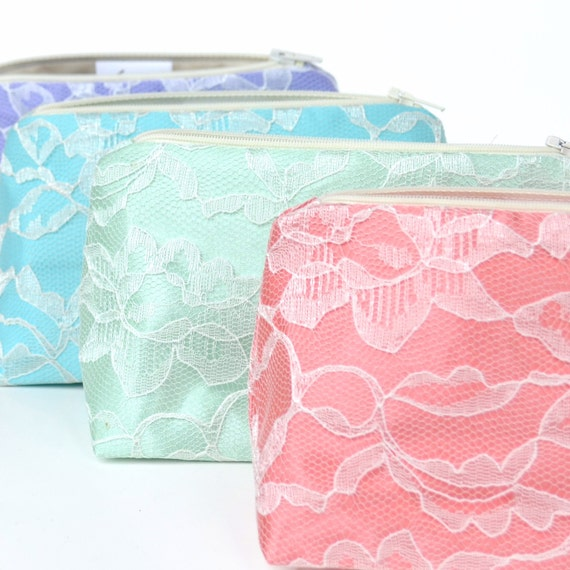 Bridesmaid Gifts: Lace Cosmetic Bags, Bulk Order Pricing, Spring Pastels, Wedding Favor, Clutch, Makeup Bags Bulk