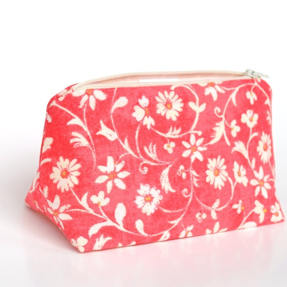 Cosmetic Bag in Pink Distressed Vintage Floral, Bridesmaid Gift, Wedding Makeup Bag,  Birthday Gift, Grapefruit Pink For Her