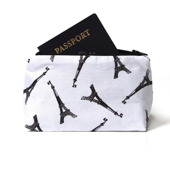 Black and White Eiffel Tower Make Up Bag, Bridesmaid Gift - Paris Novelty Cosmetic Bag, Travel Bag, Travel Gift, Cosmetic Case
