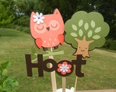 Orange and Brown Sleepy Owl Table Decorations