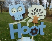 Baby Shower Table Centerpiece Decoration It's A Boy Owl Blue Brown and Green