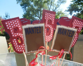 Set of 8 cowboy themed table decorations use for birthday or party