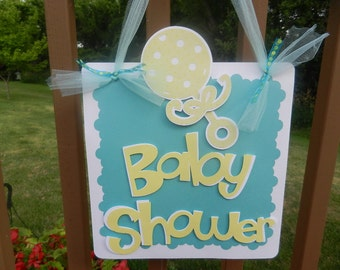 Baby Shower Door Sign Teal and Yellow Rattle