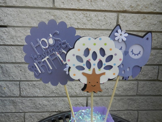 Owl Table Decorations Lavender and Soft Polka Dots Use for Birthday or Shower