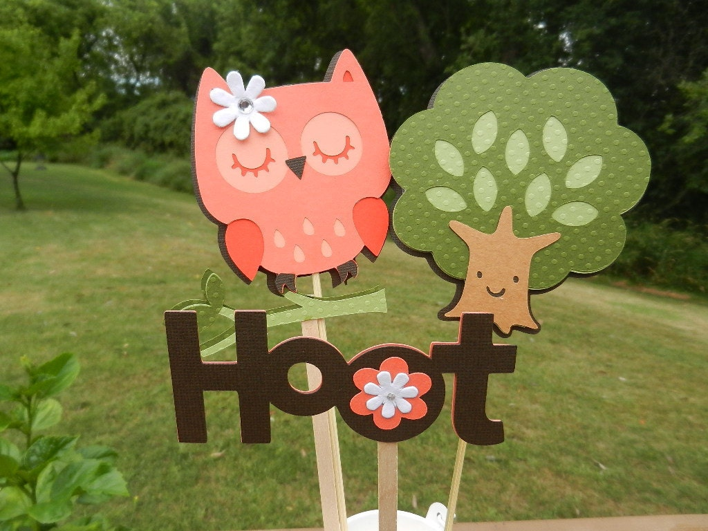 baby shower birthday owl orange and brown table decorations