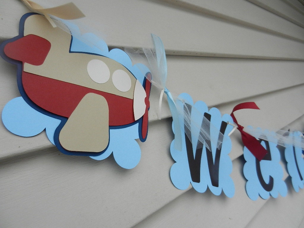 Baby Shower Birthday Party Its A Boy Airplane Banner by table4six