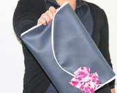 Oversized Clutch with Signature Bow OOAK---Cobalt  Faux Leather Clutch with Signature Bow in Cerise Flower Print