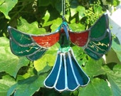Stained Glass hummingbird ornament hand painted suncatcher
