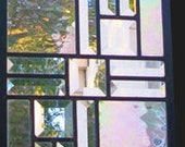 Stained Glass Window Panel transom or sidelight -clear iridescent water glass