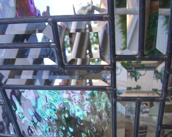 Stained Glass Window Transom - Irridescent Clear Glass and Bevels