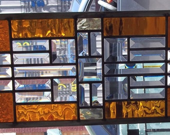 Stained Glass Window Transom/Sidelight Your choice of color -  Beveled Glass