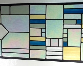 Stained Glass Window Transom Sidelight, Geometric, your choice of colors with beveled glass
