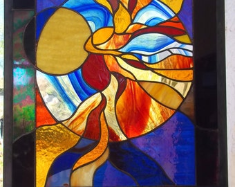 Stained Glass Window Panel Fire Dancer woman leaded
