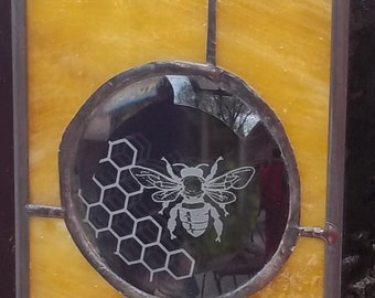 Stained Glass Window Panel bee honeycomb sweet Ready to ship