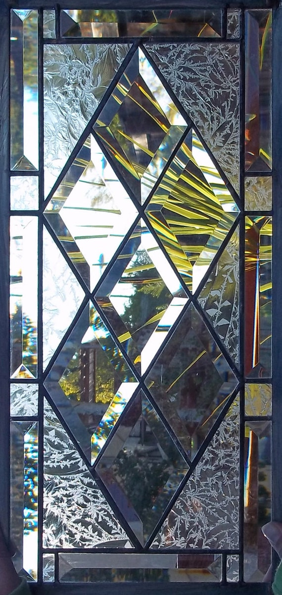 Stained Glass Window Antique Diamond Beveled