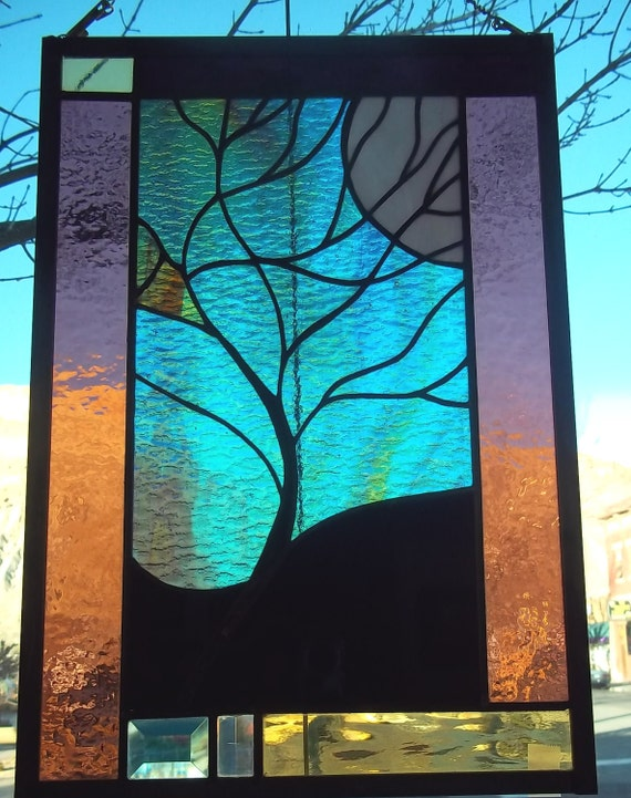 SALE Moonlit Tree Stained Glass Window with Rare Green and Turquoise Bevels romantic