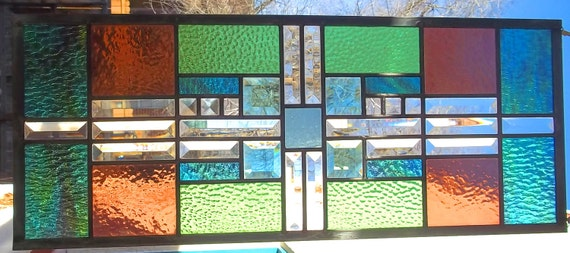 Stained Glass Window Transom/Sidelight Beveled Glass green mauve turquoise