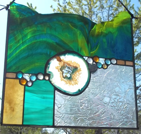 """Large Geode Stained Glass Window Panel - """"Turquoise Crystal"""""""