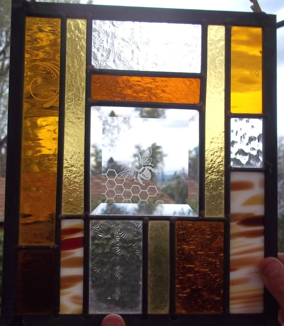 Honey Bee, Hive, Abstract Geometric  Stained Glass Window Panel